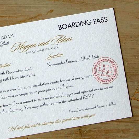 Boarding Pass Wedding Invitations with nice invitation layout