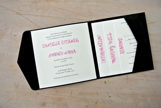champagne inspired wedding invitation - little flamingo, Wedding invitations