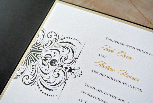 Gold, White and Black Wedding Pocket Invitation - Little Flamingo