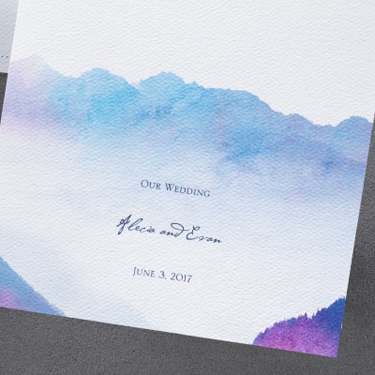 Order of Service Watercolour Mountains