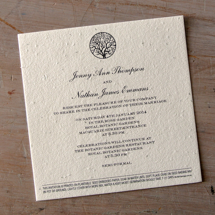 Seeded Paper Wedding Invitations