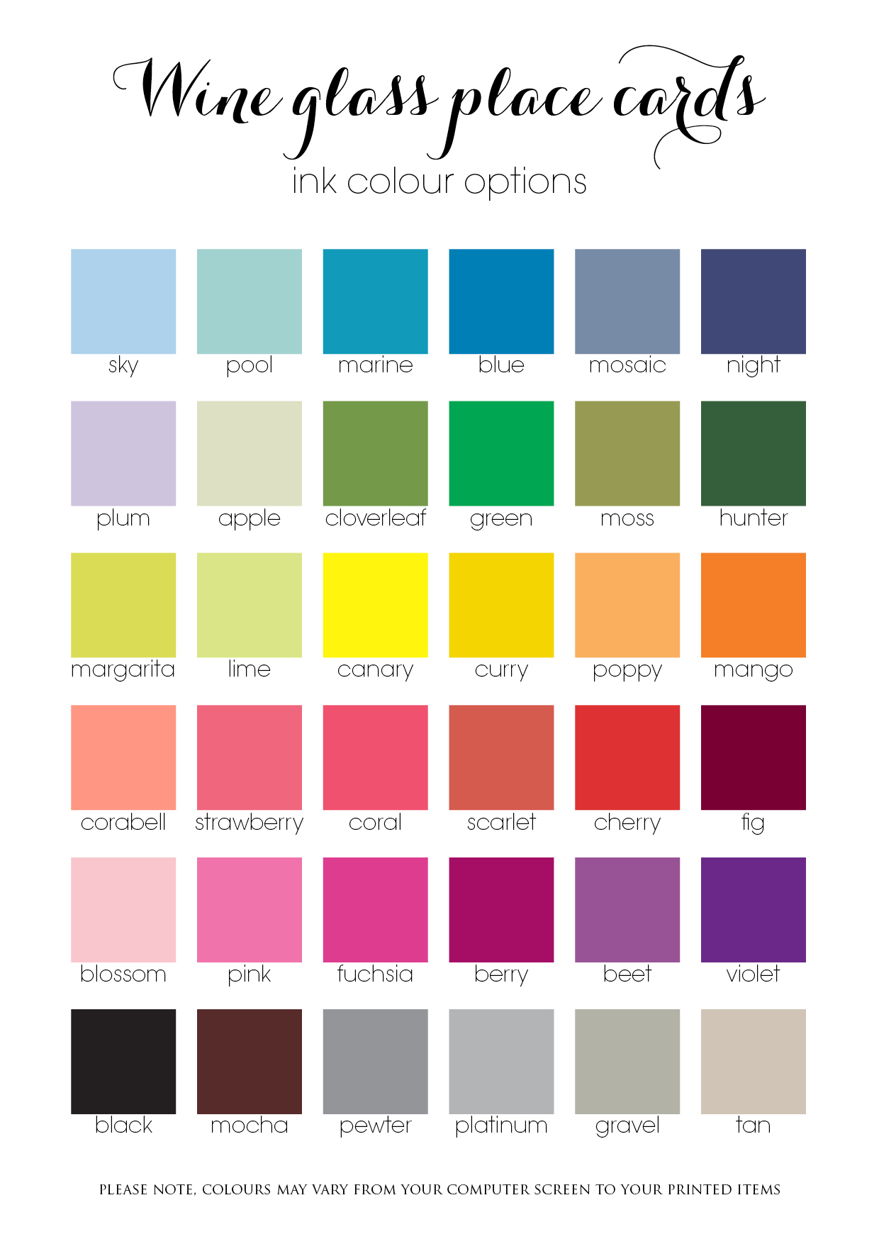 Wineglass Place card_Ink Colour Chart