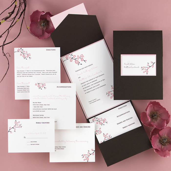 Wedding Blossom Pocket Invitation - Little Flamingo
