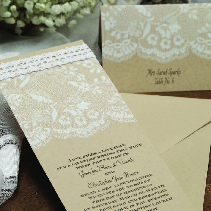 boho rustic lace wedding invitations