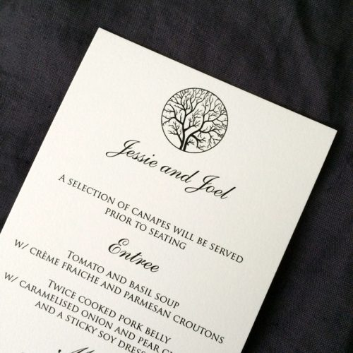 wedding menu printing