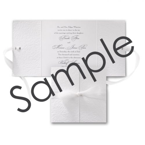 white wedding invite folder