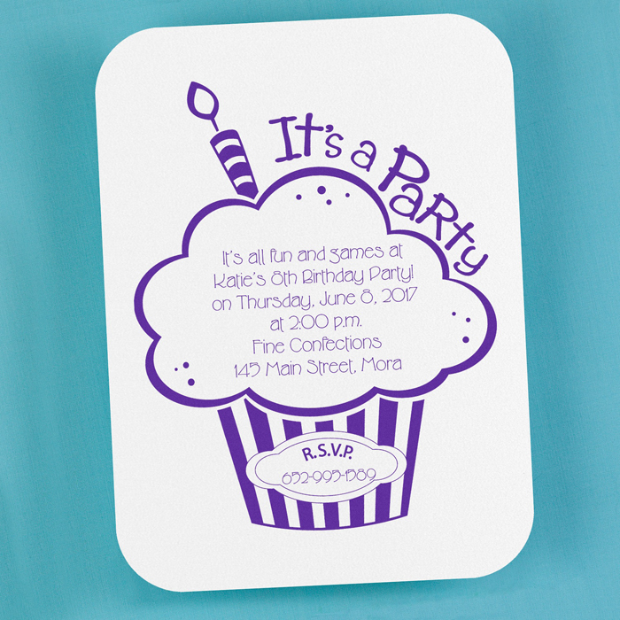 cupcake birthday party invitation little flamingo