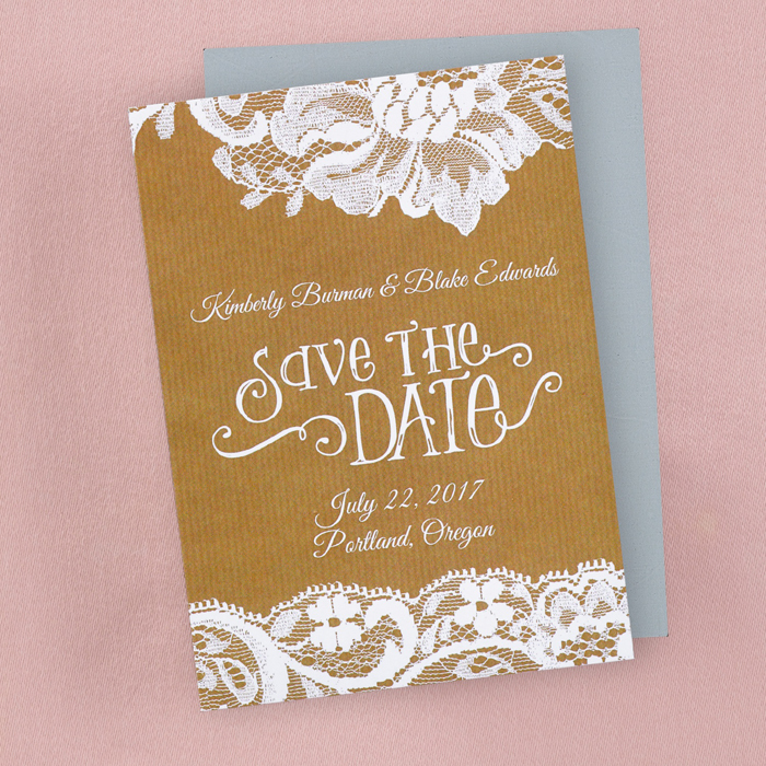 Rustic Lace Save the Date Card or Magnet - Little Flamingo