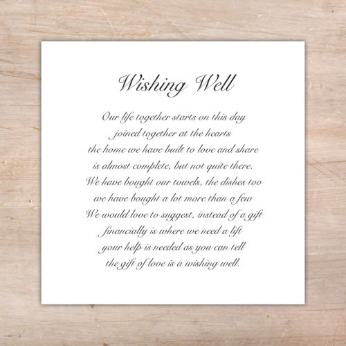 Monetary Wedding Gift Etiquette 2014 : Wishing Well/Registry Card Choose an option Yes, please No, thank you