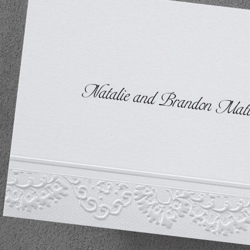 Embossed Wedding Thank you Card