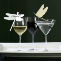 wine glass place card dragonfly