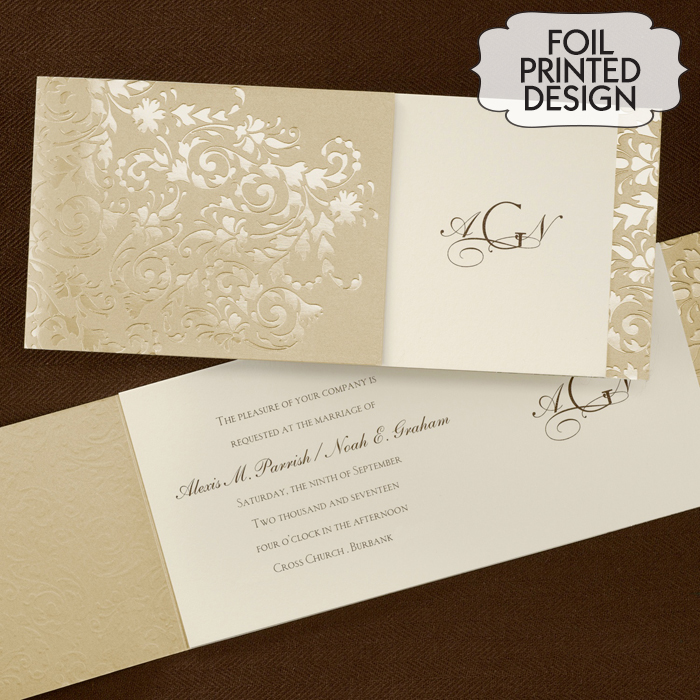 Gold Wrap Filigree Wedding Invitation Little Flamingo