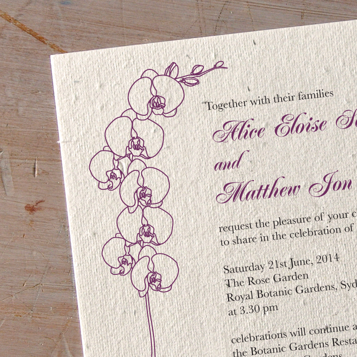 Unique Orchid Wedding Invitation - Little Flamingo