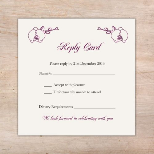 orchid flower wedding invitations