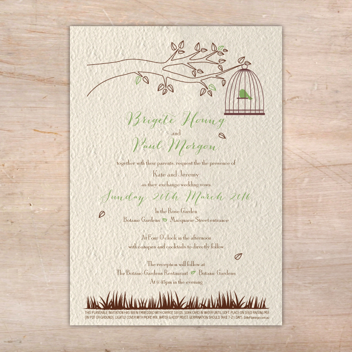Little Birdcage Plantable Wedding Invitations Little Flamingo