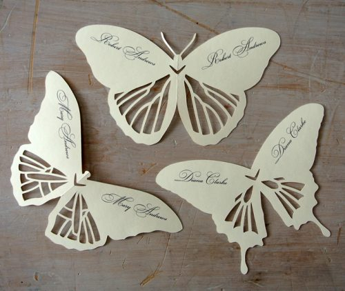 Unique garden butterfly place cards