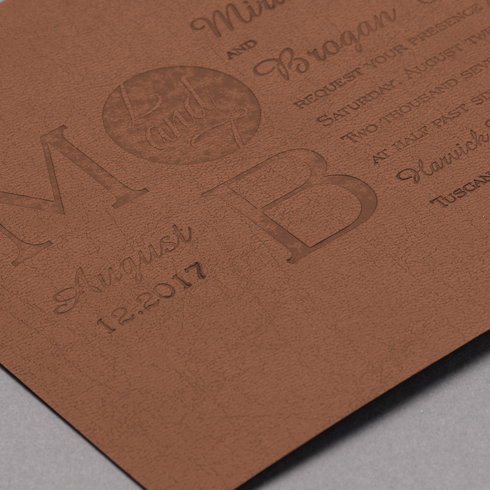 Rustic Winery Leather Wedding Invitations