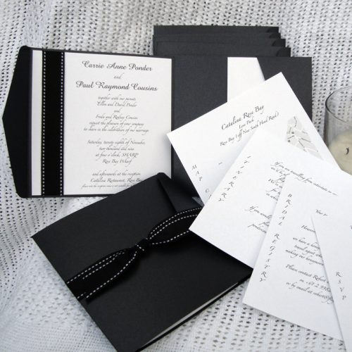 elegant pocketfold wedding invites