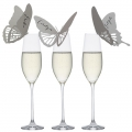 Wine glass butterfly place cards
