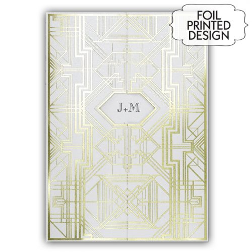 geometric foil wedding invitations