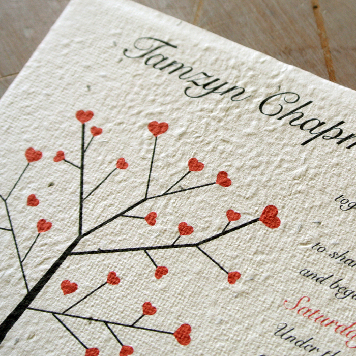 Seeded Paper Wedding Invitations - Little Flamingo