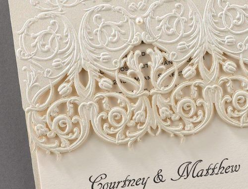 Spotlight on Wedding Stationery: Elegant Embossed Lace Invitations