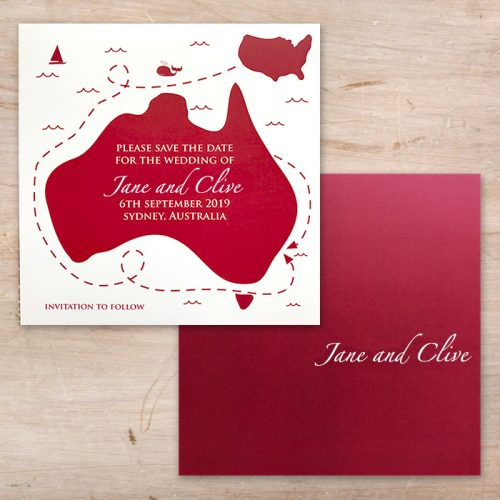 Little Flamingo save the date map