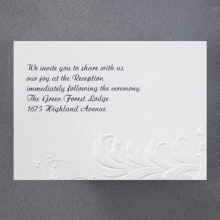 Floral Flare Embossed Wedding Invitations Additional Card/s - Little ...