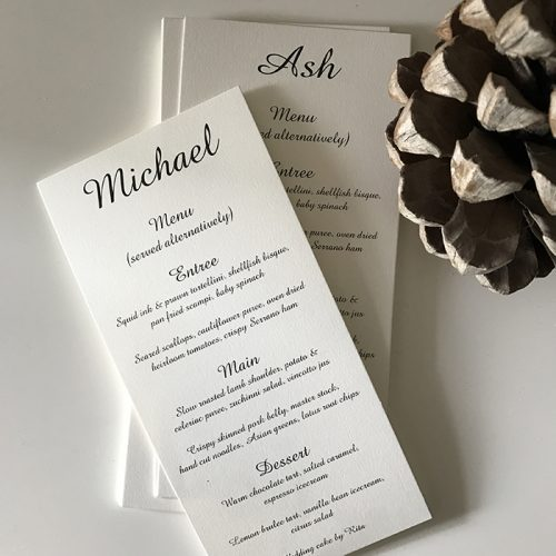 wedding menu with names