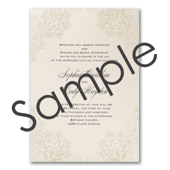 Shimmering Lace Wedding Invitation - Sample - Little Flamingo