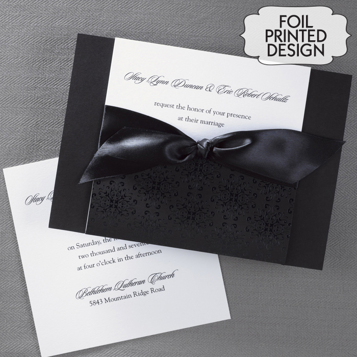 Classic Black and White Wedding Invitations - Little Flamingo