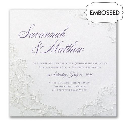 embossed lace wedding invitations