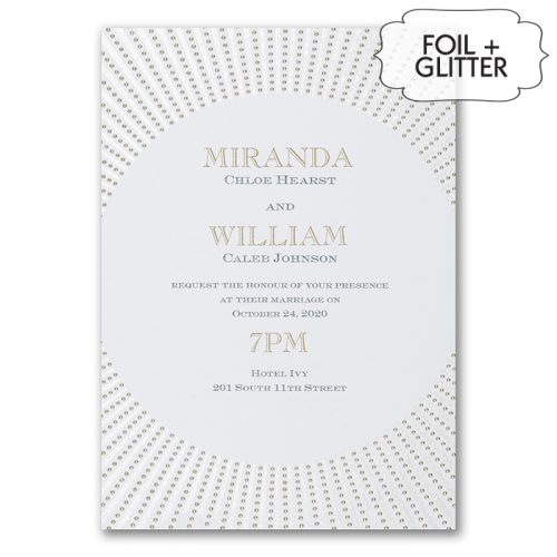 foil and glitter invitations