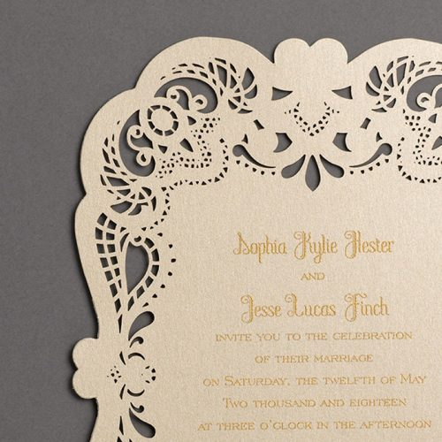 gold wedding invites