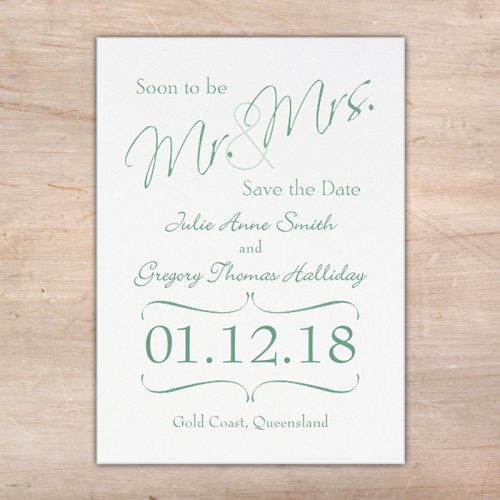 mr and mrs save the date