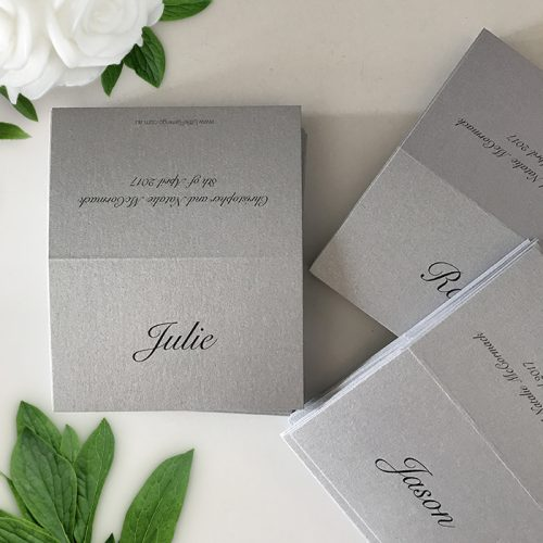 silver wedding place cards