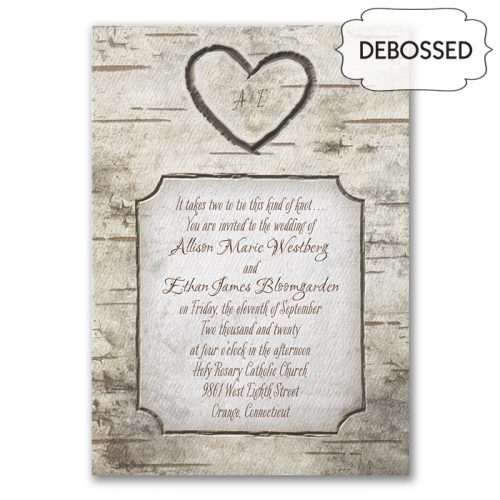 wood grain wedding invitations