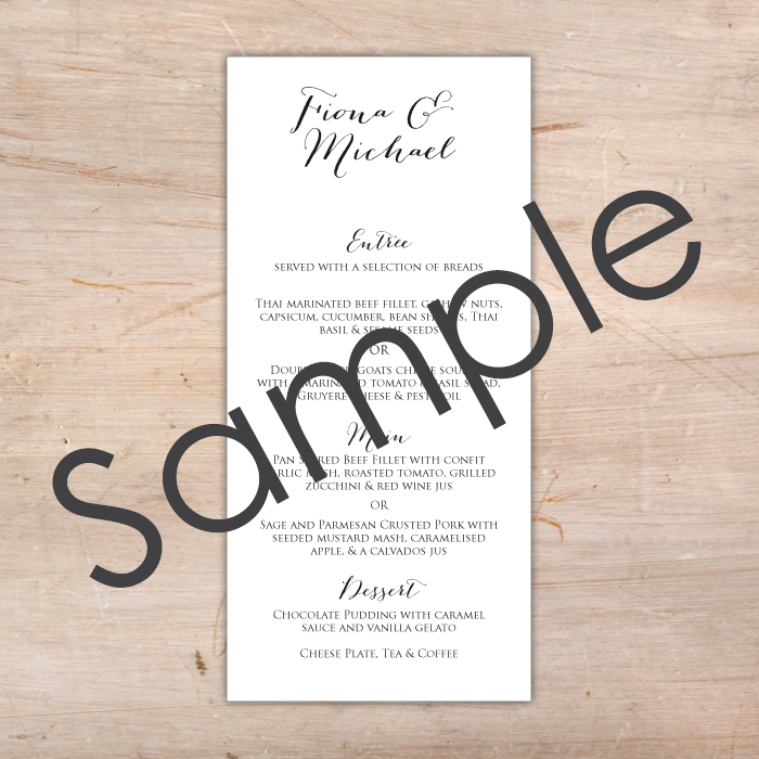 Personalised Wedding Menu Sample Little Flamingo