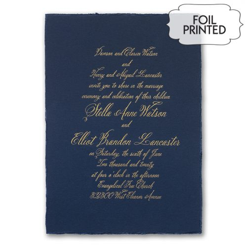Navy Deckle Edge Wedding Invitations