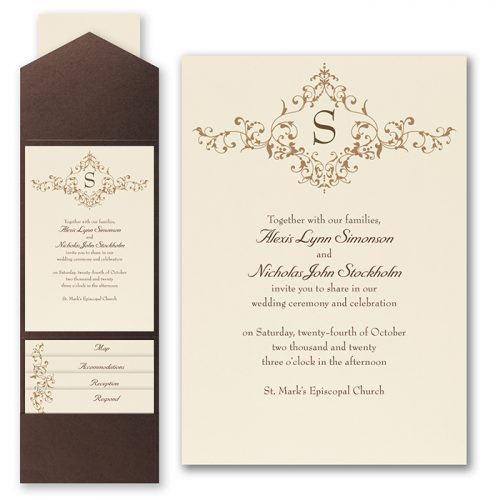 Vintage Pocket Wedding Invitations